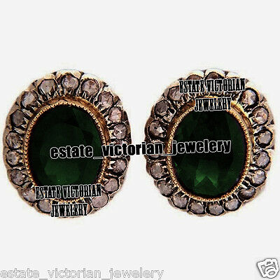 Vintage Inspired 1.22Cts Rose Cut Diamond Emerald Silver Earring Studs Jewelry