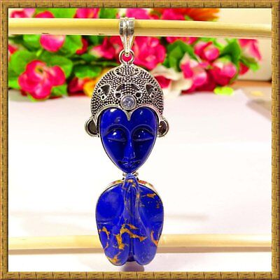 "Enticing Blue Copper Face Cavred Gemstone 925 Silver Pendant 3.5"" 37548"