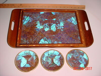 4 Pc Vintage Lot Blue Morfo Butterfly Wing Serving Tray & 3 Hangers - Brazilia