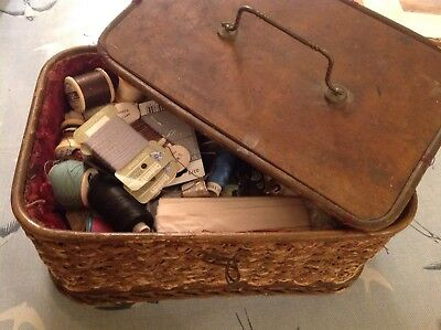Antique Sewing Basket , Lace , Buttons Thread Wooden Lid