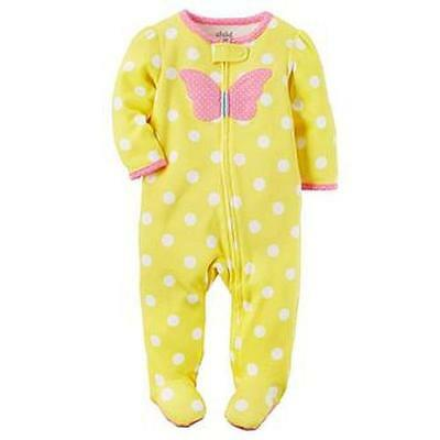 NWT Child of Mine Carters Girls' 0-3 Months Butterfly Sleeper Footed Pajamas