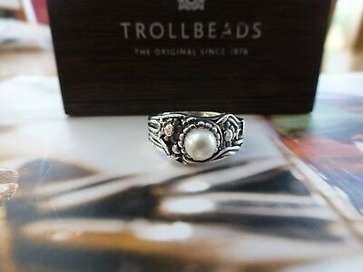 Trollbeads Sterling Silver Pearl Ring Jugend size 53 BRAND NEW