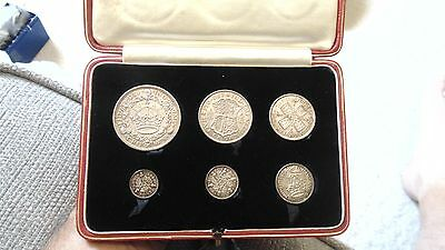1927 6 COIN SILVER PROOF YEAR SET WITH WREATH CROWN AND RARE THREEPENCE 3d