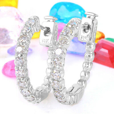 1.10 Carat Natural Diamond 14K Solid White Gold Hoop Earrings