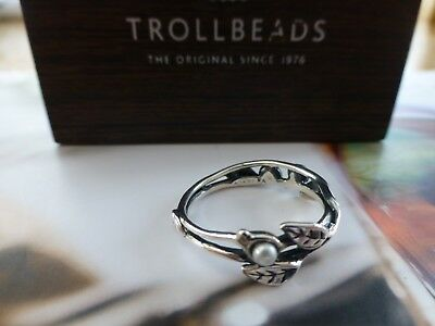 Trollbeads Sterling Silver Leaves and Pearl Ring size 56/P BRAND NEW
