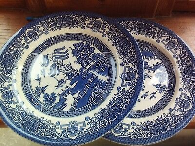 Willow pattern plates Blue and White transferware plates 9 inches. Ironstone Eng