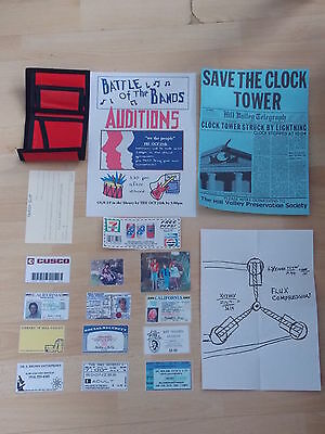 Back To The Future Prop Replica Marty McFly Wallet & Save The Clock Tower Flyer