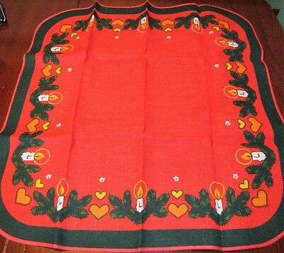 Charming Vintage Christmas Jute Tablecloth Centerpiece Germany 30'' x 30''