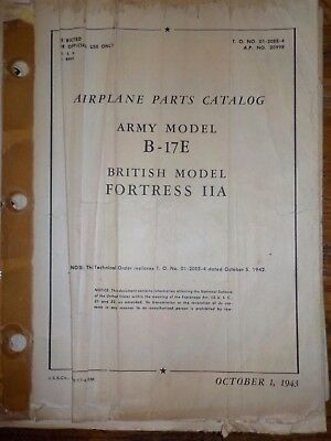Technical Orders Parts Catalog Boeing B-17 E Flying Fortress Airplane Aircraft