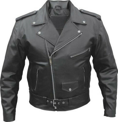 Mens Perfecto Brando Black Cowhide Milled Leather Motorcycle Jacket  S To 10Xl
