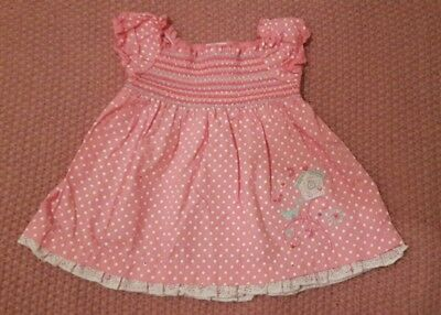 Baby Girl Dress ~ Zip Zap ~ 0-3 Months ~ Pink, Spotty, Embroidery