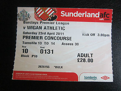 Sunderland v Wigan Ticket 23/4/11