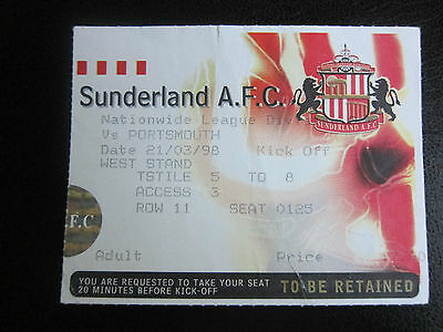 Sunderland v Portsmouth Ticket 21/3/98