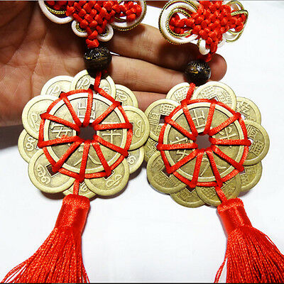 Feng Shui Mystic Knot 10 Chinese Lucky  Coins Cures Home Career Health Wealth JS