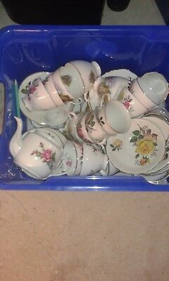 Mis-Match Cups Saucers and a teapot Vintage Wedding Teaparty Shabby Chic
