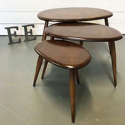 ERCOL Pebble nest of tables, Model 354, Oyster shape tables