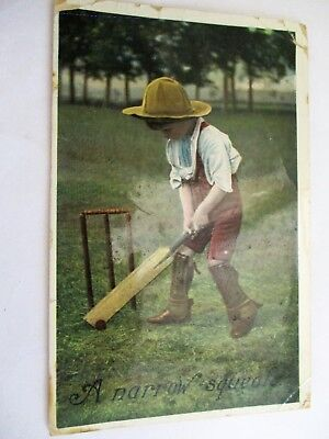 A Narrow Squeak - Old Cricket / Child Postcard