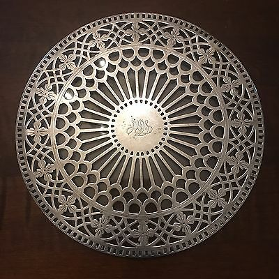 RARE Vtg TIFFANY & CO. STERLING Silver Overlay and Glass TRIVET or Hot Plate