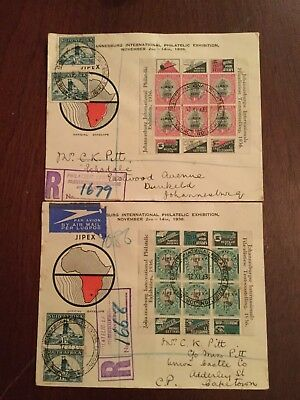2 X 1936 SOUTH AFRICA Johannesburg Philetelic exhibition official envelopes