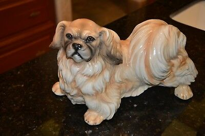 "Vintage ceramic Pekingese dog statue made in Italy by Ronzan 14"" long"