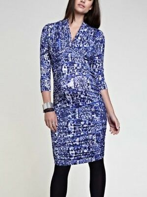 Isabella Oliver Ink Abstract Victoria Ruched Maternity Dress Size 1 BNWT
