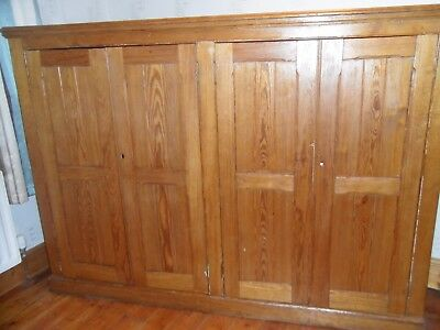 "Large original antique pine cupboard 73"" long 52"" high 17"" deep"