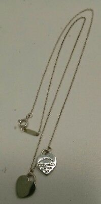 Sterling Silver Please Return to Tiffany & Co. Double Heart Pendants Necklace