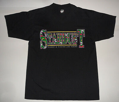 Vtg ORIGINAL 1980s STARDUST RESORT LAS VEGAS CASINO HOTEL Screen Stars T SHIRT L