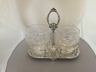 Beautiful Silver Plated Heavy Two Section Stand With 2 Cut Glass Footed Bowls