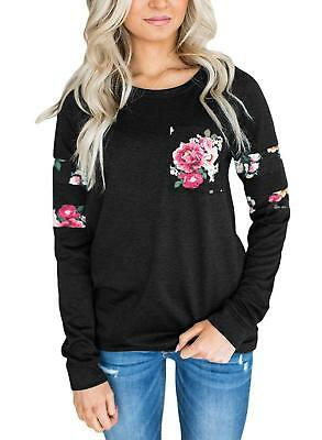 Womens Casual Floral Fashion Sweatshirt Blouses Tops Rose Fall Black Sleeve Knot