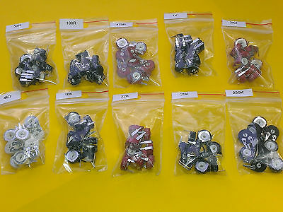 [100 pcs] PIHER Potentiometers 10 Values PT10 + PTC10 LV/LH