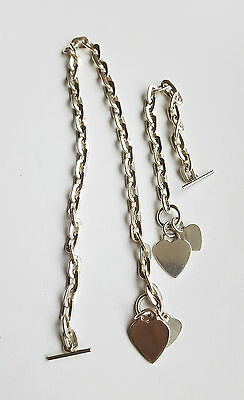 """Ladies Sterling Silver 17"""" & 7.5"""" Oval Link & 2 Hearts Set RRP £220 No 5699-5700"""
