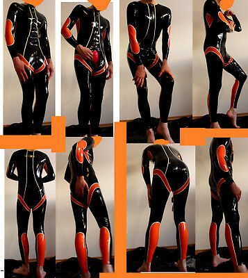 ♂ Catsuit Latex Catfish Gr.S-M neuw. schwarz orange weiß racing training suit