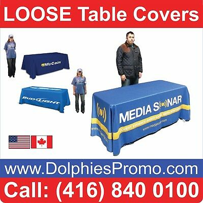 2 BUS DAYS PRODUCTION: 6' Table Cover LOOSE Dye Sublimation Full Color Printed