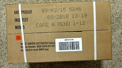Genuine Factory Sealed USGI MRE's, Case A, 1-12 Meals, Insp Date 09-2018