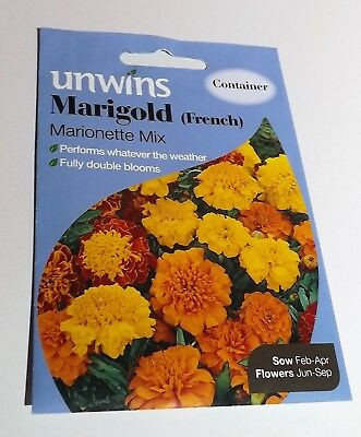 Unwins Pictorial Packet - Flower - Marigold French Marionette Mix - 130 Seeds