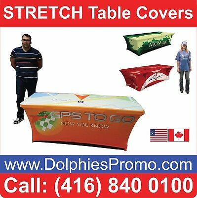 2 BUS DAYS PRODUCTION: 6' Table Cover STRETCH Dye Sublimation Full Color Printed