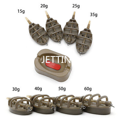 Set Carp Fishing Inline Method Feeder 4 Feeders 15/20/25/35g 30/40/50/60g +FT
