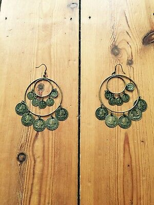 Missguided Gypsy Boho Coin Brass Gold Large Hoop Earrings