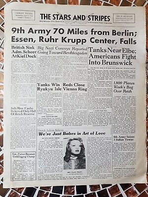 FURY used film prop 4 Page Stars And Stripes Newspaper Brad Pitt, Bernthal, Pena
