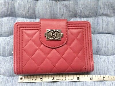 Authentic Chanel Lambskin Quilted Boy L-Zip Pocket Wallet Pink