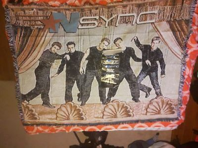 Rare NSYNC boyband puppets on a string blanket throw afghan 90s memorabilia