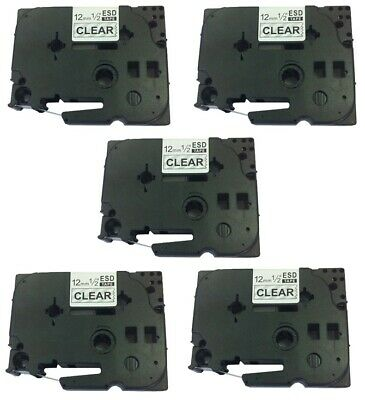New 5 Pack Black on White Label Tape 12mm For Brother TZe Tz 231 P-Touch 26.2ft