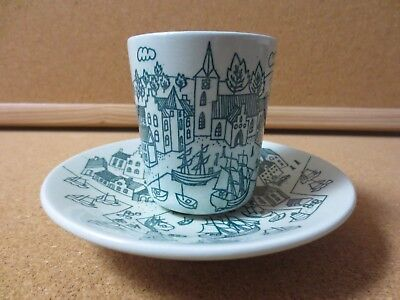 Nymolle Art Faience Hoyrup Denmark 50s - 60s Cup and Saucer Folk Art (PG1687)