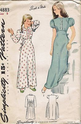 Vintage 1940s Simplicity 4883 Girls Long Empire Tie-Back Nightgown Pattern_8,26