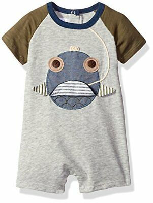 Mud Pie Baby Boys' Shortall One Piece Fish Face 12-18 Months