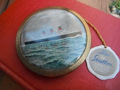 Antique Stratton Loose Powder Compact R.M.S. Queen Mary Ship