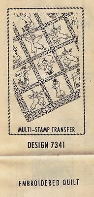 Vintage 1950s Design 7341 Performing Clowns Iron-on Designs for Quilt or Decors