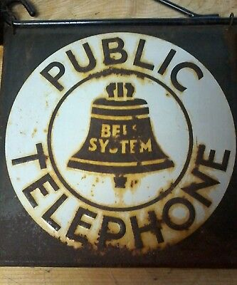 Bell System public telephone sign VINTAGE