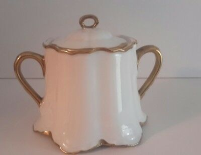 Bavaria Large Sugar Bowl And Lid with Gold Trim and Handles
